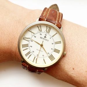 Vintage cream & brown leather Movado watch